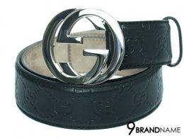Gucci Belt Size 90 Black SHW -  Authentic เข็มขัด กุซซี่ ไซส์ 90 หัวเข็มขัดใหญ่ สีเงินเงาสวย หนังแท้ ปั๊มโลโก้ สีดำ ใส่เข้ากับทุกชุดคะ