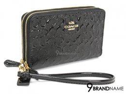 Coach Wallet Zip2 Patant Black F54808 - Authentic Bag กระเป๋าตังค์ โค้ช สีดำ หนังแก้ ใบยาว ซิปรอบ อะไหล่ทอง   2 ซิปเปิดได้2ช่อง ใส่บัตร10ใบ