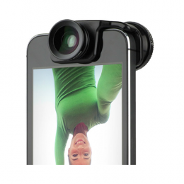 Olloclip Selfie 3-IN-1 Photo Lens for iPhone 5/5s - Black Lens/Black Clip + Black, Lavender and Mint Green Pendants