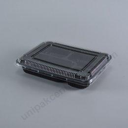 กล่องอาหาร 4 ช่อง PP ดำ (S-BENTO4-01)+ฝาPET