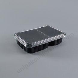 กล่องอาหาร 2 ช่อง PP ดำ+ฝา PET (AN)
