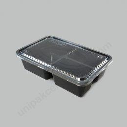 กล่องอาหาร PP ดำ 3ช่อง 900ml + ฝา PETใส