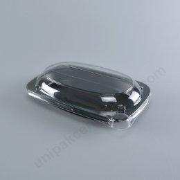 กล่องอาหารวงรี PP สีดำ (S-OVAL 1P) พร้อมฝา PET