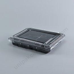 กล่องอาหาร 3 ช่อง สีดำ(S-403) พร้อมฝา PET