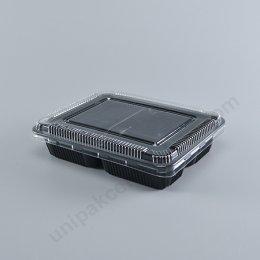 กล่องอาหาร 3 ช่อง PP สีดำ (S-403N) พร้อมฝา PET