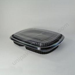 กล่องอาหารญี่ปุ่น 3 ช่อง PP สีดำ พร้อมฝา PET