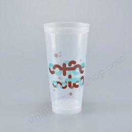 ถ้วยน้ำดื่ม ขนาด 22 oz PP แข็ง(มีขา) ลาย coffee and tea