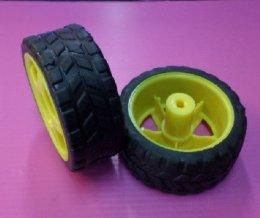 ล้อขนาด 2.5 นิ้ว สีเหลือง สำหรับใส่กับมอเตอร์เกียร์ BO (1ล้อ)