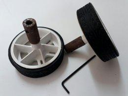 ชุดล้อ 65x15 mm พร้อมข้อต่อแกน 4 mm (1คู่)
