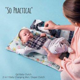 Qd Baby Clutch กระเป๋า 2 in 1 รองเปลี่ยนผ้าอ้อม - Night Safari