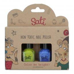 Sati ยาทาเล็บสำหรับเด็ก สูตรน้ำ ปลอดสารเคมี - Grape & Lime Green