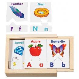 ของเล่นเด็ก มาลิซซ่าแอนด์ดัก พัซเซิลตัวอักษร A-Z อักษรใหญ่คู่กับอักษรเล็ก 26 คู่ พร้อมกล่องไม้