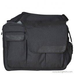 Diaper Dude กระเป๋าผ้าอ้อมลูก ใส่ของเด็ก รุ่น Messenger II - Black Pinstripe