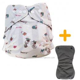BaboonBaby กางเกงผ้าอ้อมซักได้เอวกระดุม + แผ่นซึมซับชาโคลแบมบู