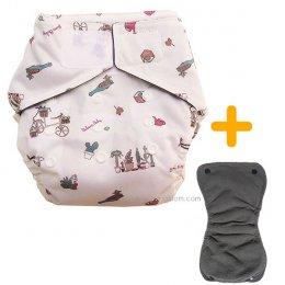 BaboonBaby กางเกงผ้าอ้อมซักได้เอวเทป + แผ่นซึมซับชาโคลแบมบู