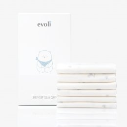 Evoli Baby Keep Clean Cloth (X6) :Baby Gray on White