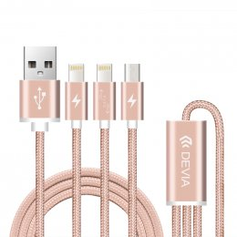Devia Premium 3 in 1 Lighting Cable (Rose Gold)
