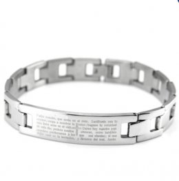 Jiayiqi Bible Cross Stainless Steel Men's Bracelet (Silver)