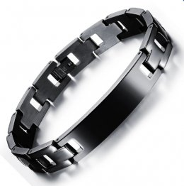Zuncle Spanish Bible Lord's Prayer Titanium Steel Men's Bracelet Wristband Black