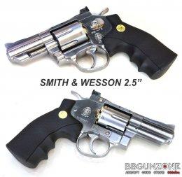Wingun ปืนลูกโม่ Smith & wesson 2.5 นิ้ว 708 CO2 Magnum Revolver เงิน