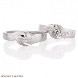 แหวนเพชรคู่ ทองขาว 18K
