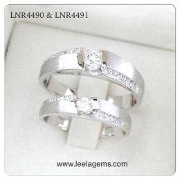 แหวนคู่แต่งงาน ทองขาว 18K
