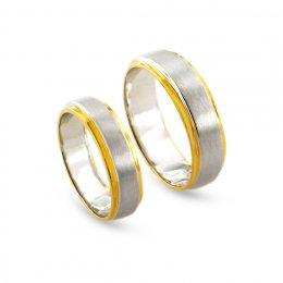 แหวนคู่ทูโทน ทองขาว 18K