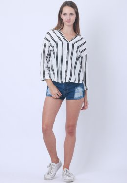 Women's Blouse In Stripe Pattern