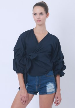Strap Blouse With Balloon Sleeves