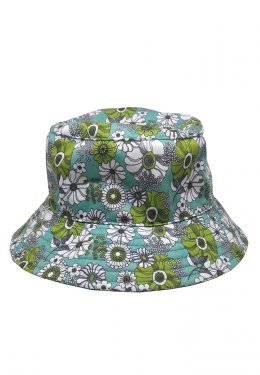 U-re Retro Green Flower Print Bucket Hat