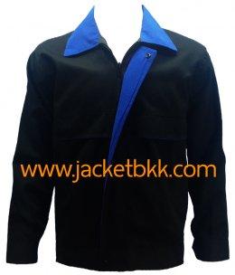 เสื้อแจ็คเก็ต ตัดต่อแบบ A สีดำปกน้ำเงิน ผ้าคอมพ์