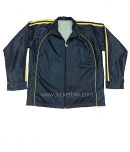 เสื้อแจ็คเก็ต-ผ้าร่มเรียบสีกรมท่าตัดต่อสีเหลือง