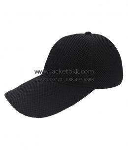 หมวกแก๊ปผ้าตาข่ายแซนวิชสีดำ