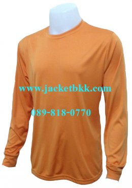 เสื้อคนงาน คอกลม เส้นใยโพลีเอสเตอร์ สีส้ม