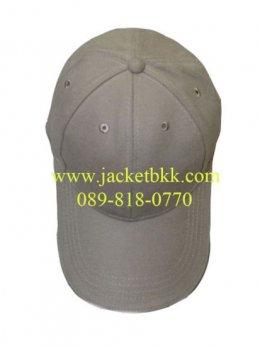 หมวกแก๊ปผ้าพีชสีเทา เจาะรูตาไก่+มีแซนวิชสีขาว ปลายปีกหมวก