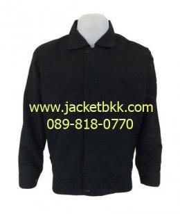 เสื้อแจ็คเก็ต คอปก สีดำล้วน ชนิดผ้าไมโคร