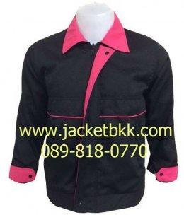 เสื้อแจ็คเก็ตตัดต่อแบบ A สีดำปกบานเย็น ผ้าคอม 60