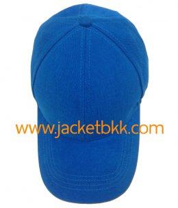 หมวกแก๊ป ผ้าพีช ไม่มีแซนวิช ไม่เจาะรู สีฟ้าเข้ม
