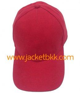 หมวกแก๊ปผ้าพีชสีแดง ไม่เจาะรูตาไก่+ไม่มีแซนวิชปลายปีกหมวก