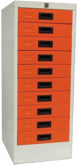 ตู้เหล็กเก็บของ 10 ชั้นสีส้ม