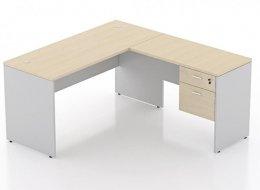 โต๊ะทำงานตัวแอลขาไม้ พร้อมตู้ลิ้นชัก