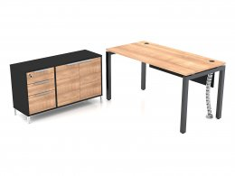โต๊ะทำงานขาเหล็ก พร้อมตู้