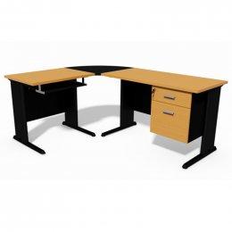 โต๊ะทำงานขาเหล็กรูปตัวแอล