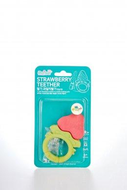 ยางกัดสตอรเบอรี่วงกลม พร้อมคลิปกันหล่น  แบรนด์ Ange - Srawberry Ring Teether