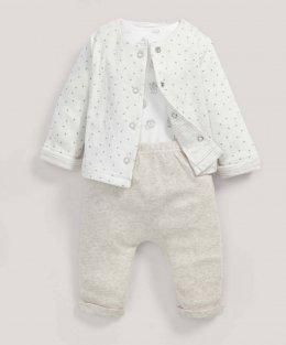 ชุดเด็ก แจ๊กเก็ตสีขาว บอดดี้สูท & กางเกงขายาว