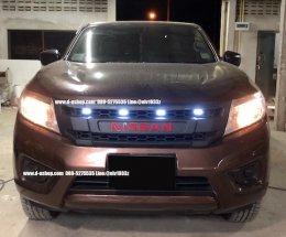 กระจังหน้าดำด้านมีไฟLED ตรงรุ่น Nissan Navara NP300