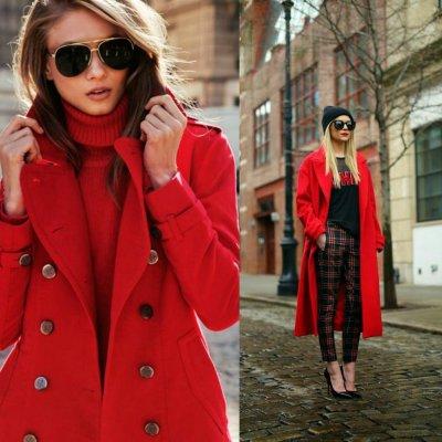 มาดูแฟชั่นเสื้อโค้ทกันหนาวสีแดงสไตล์ยุโรปกันจ้า